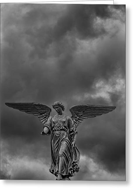 Bethesda Fountain Greeting Cards - Angel Statue Bethesda Fountain Central Park 2 Greeting Card by Robert Ullmann