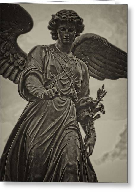 Bethesda Fountain Greeting Cards - Angel Statue Bethesda Fountain Central Park Greeting Card by Robert Ullmann