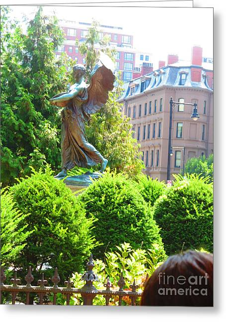 Angelical Greeting Cards - Angel Statue Boston MA America USA travel photos by NavinJoshi FineArtAmerica Pixels Greeting Card by Navin Joshi