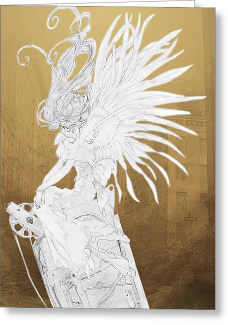 Guardian Angel Drawings Greeting Cards - Angel Statue Greeting Card by Shawn Dall