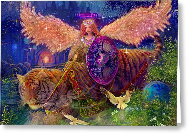 Fantasy Greeting Cards - Angel tarot card Angel Fairy Dream Greeting Card by Steve Roberts