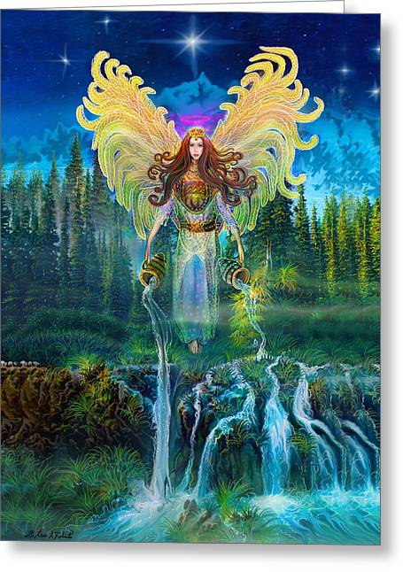 Flying Angel Greeting Cards - Angel Tarot Card Archangel Jophiel  Greeting Card by Steve Roberts