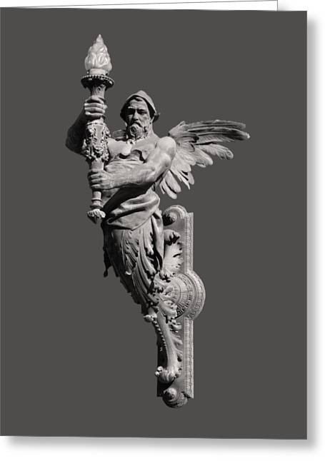 Nouveau Sculptures Greeting Cards - Angel Torch Budapest Greeting Card by James Dougherty