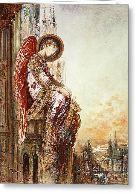 Architectural Landscape Greeting Cards - Angel Traveller Greeting Card by Gustave Moreau