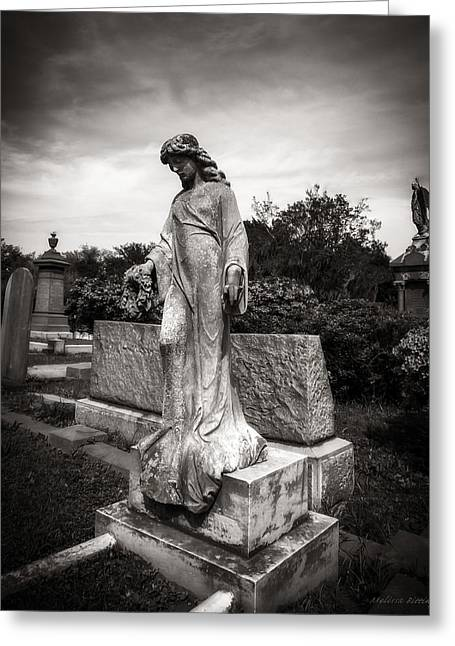 In Memoriam Greeting Cards - Angel Watch Cemetery Landscape Black and White Greeting Card by Melissa Bittinger