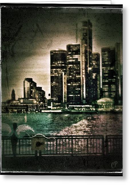 Renaissance Center Greeting Cards - Angel watching over Detroit Greeting Card by Christine Paris