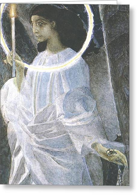 Angel With A Candle Greeting Card by Mikhail Aleksandrovich Vrubel