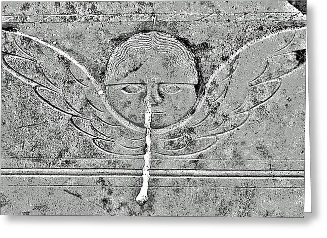 Engraving Greeting Cards - Angel with a Runny Nose Greeting Card by Jean Hall