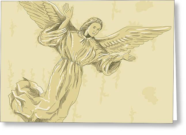 Seraphim Angel Digital Art Greeting Cards - Angel with arms spread Greeting Card by Aloysius Patrimonio