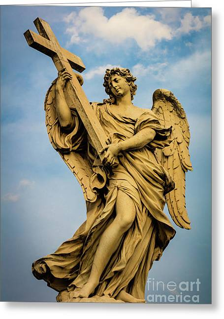 Angel With Cross Greeting Card by Inge Johnsson