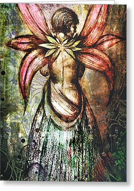 Wiccan Art Greeting Cards - Angel with flowery wings Greeting Card by Michael  Volpicelli