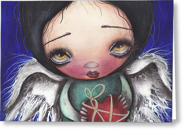Angel with Heart Greeting Card by  Abril Andrade Griffith
