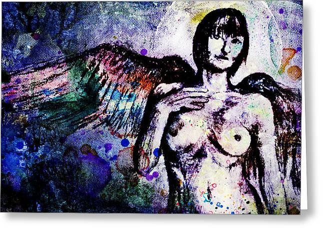 Angel With Rainbow Wings Greeting Card by Michael  Volpicelli