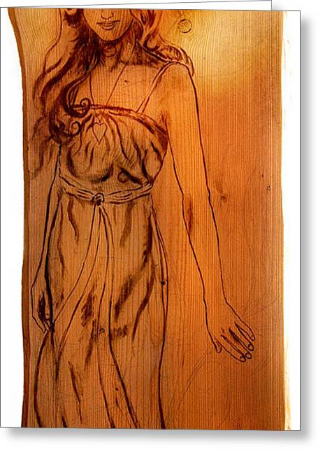 Creative People Greeting Cards - Angel woman  sepia painting on wood isolated on white background with clipping path Greeting Card by Jozef Klopacka