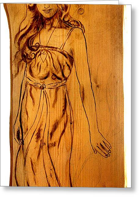 Creative People Greeting Cards - Angel woman sepia painting on wood Greeting Card by Jozef Klopacka