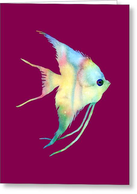 Angelfish I - Solid Background Greeting Card by Hailey E Herrera