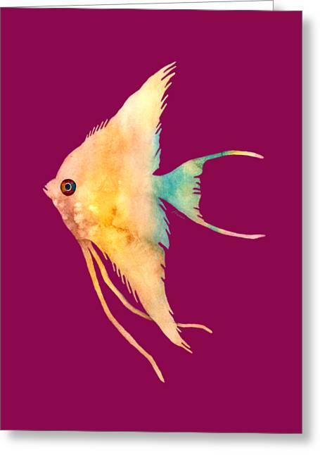 Angelfish II - Solid Background Greeting Card by Hailey E Herrera