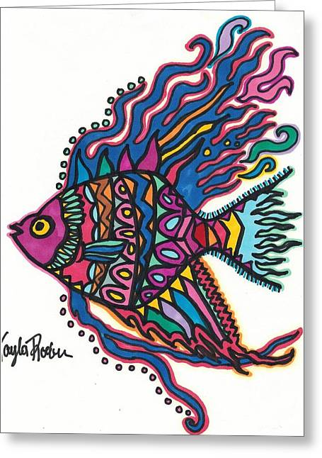 Reef Fish Drawings Greeting Cards - Angelfish Greeting Card by Kayla Roeber