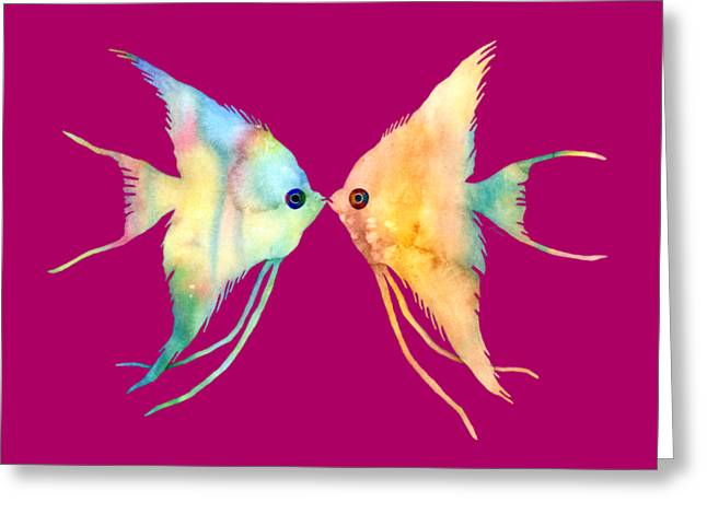 Diving Greeting Cards - Angelfish Kissing Greeting Card by Hailey E Herrera