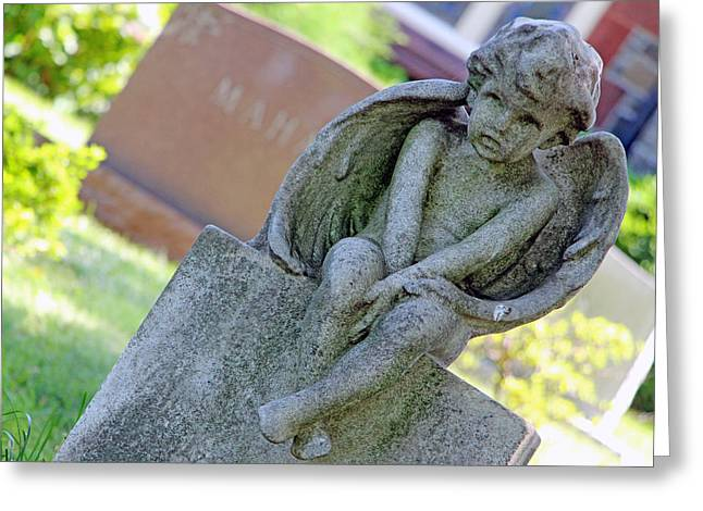 Angel Oak Photographs Greeting Cards - Angelic Child At Boys Grave Greeting Card by Cora Wandel