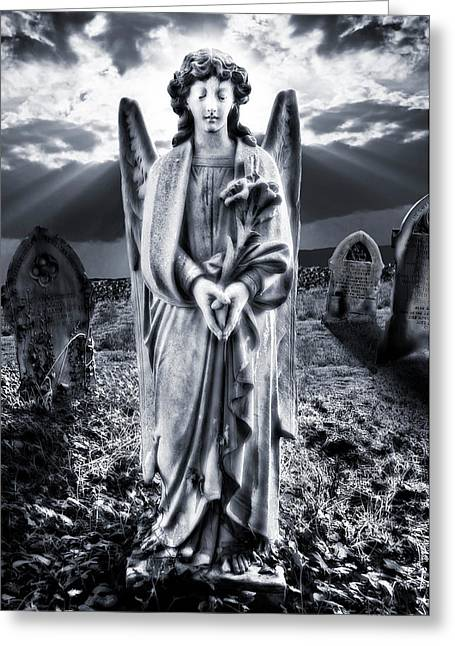 Angel Blues Greeting Cards - Angelic Light Greeting Card by Meirion Matthias