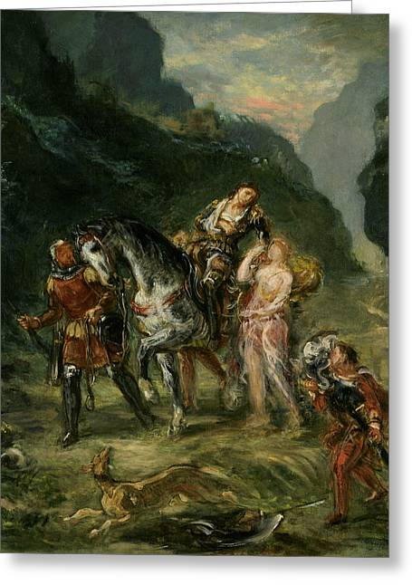 Angelica And The Wounded Medoro  Greeting Card by Eugene Delacroix