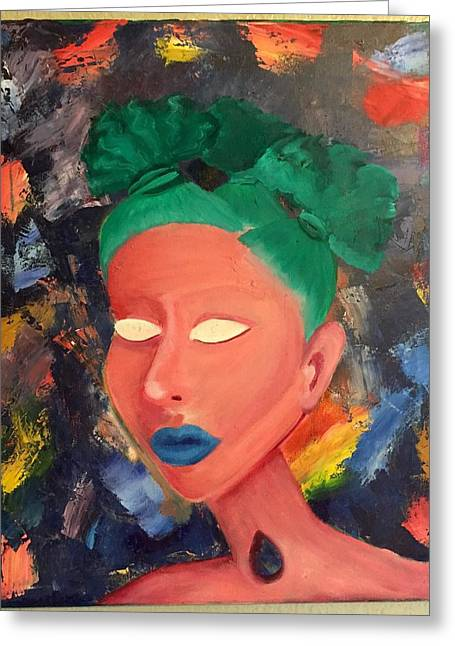 Pallet Knife Greeting Cards - Angelika Greeting Card by LeAnna Moreno