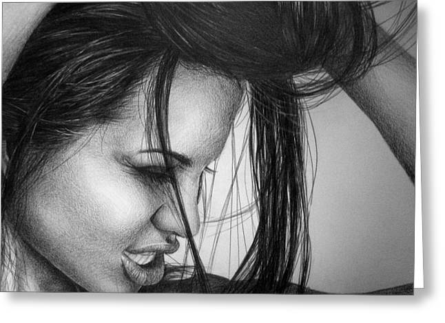 Celebrity Portrait Greeting Cards - Angelina Jolie Greeting Card by Jennifer Bryant