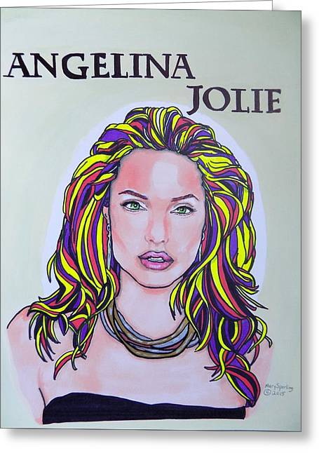 Tomb Mixed Media Greeting Cards - Angelina Jolie Greeting Card by Mary Sperling