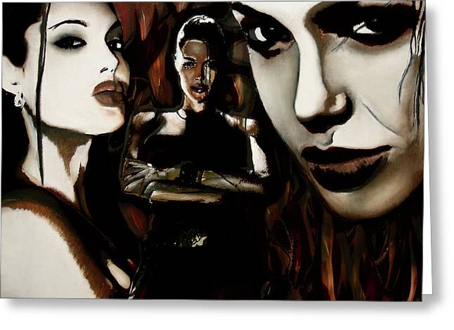 Will Power Mixed Media Greeting Cards - Angelina Jolie Greeting Card by Sarah Whitscell