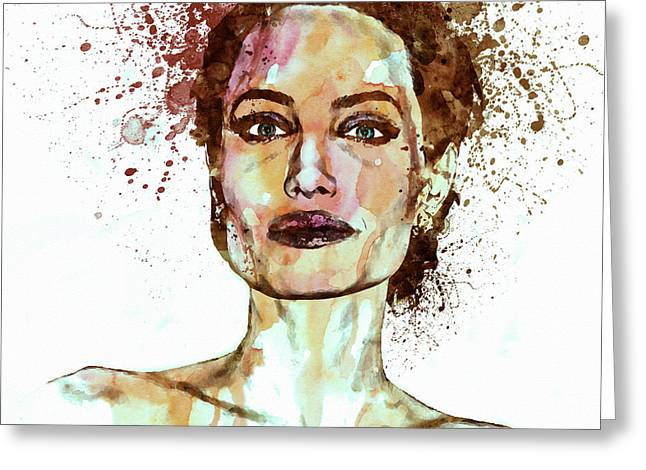 Sizes Greeting Cards - Angelina Jolie watercolor Greeting Card by Marian Voicu