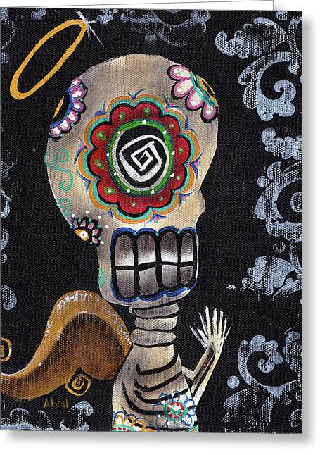 Whimsical Skull Greeting Cards - Angelito  Greeting Card by  Abril Andrade Griffith