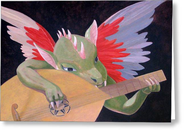 Lute Paintings Greeting Cards - Angelo Musicante Greeting Card by Leonard Filgate