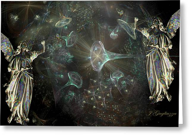 Angels And Trumpets Greeting Card by Jean Gugliuzza