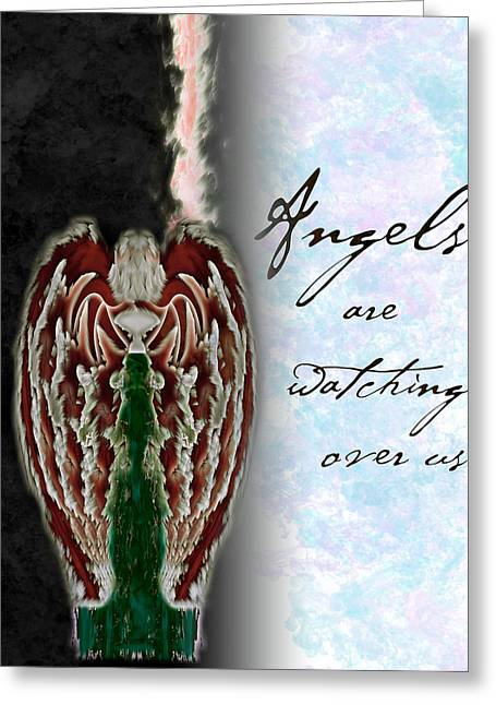 Seraphim Angel Paintings Greeting Cards - Angels are watching over us Greeting Card by Christopher Gaston