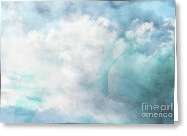 Angel Blues Greeting Cards - Angels are Watching over you Greeting Card by Beverly Guilliams