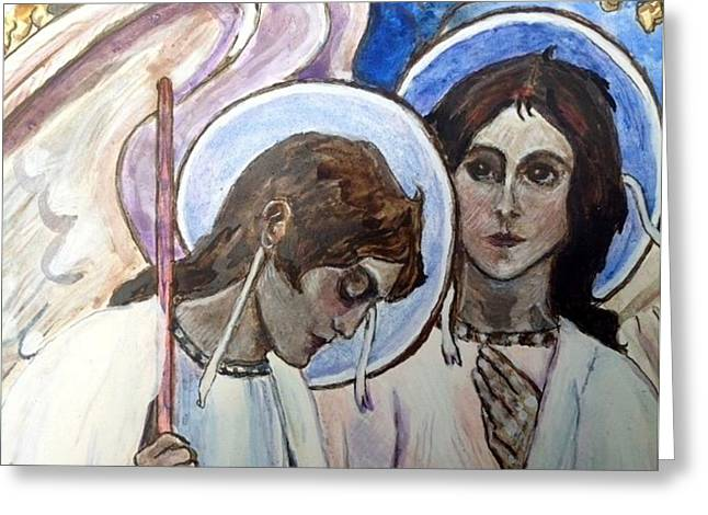 Byzantine Greeting Cards - Angels at Abrahams Table Greeting Card by Olga Dytyniak