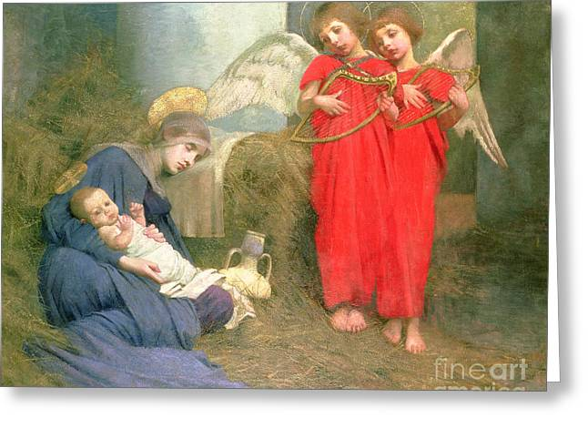 Night Scenes Greeting Cards - Angels Entertaining the Holy Child Greeting Card by Marianne Stokes