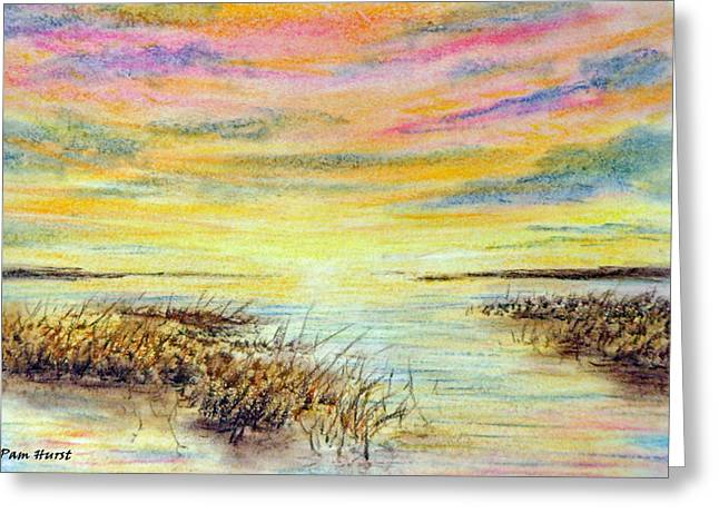 Bright Pastels Greeting Cards - Angels Flyway Greeting Card by Pam Hurst
