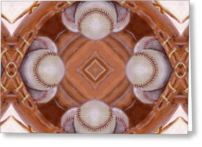 Baseball Glove Mixed Media Greeting Cards - Angels in the Outfield Greeting Card by Maria Watt