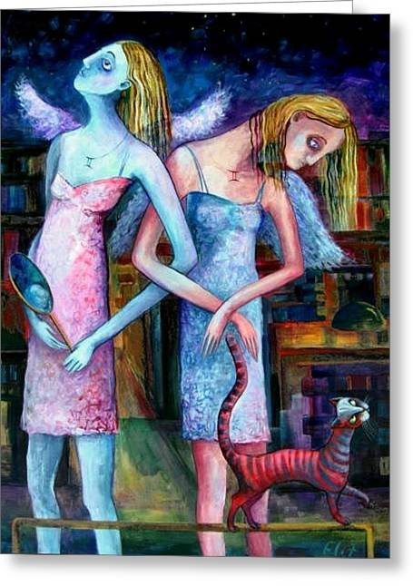 Constellations Greeting Cards - Angels Of Zodiac. Gemini The Twins Greeting Card by Elisheva Nesis