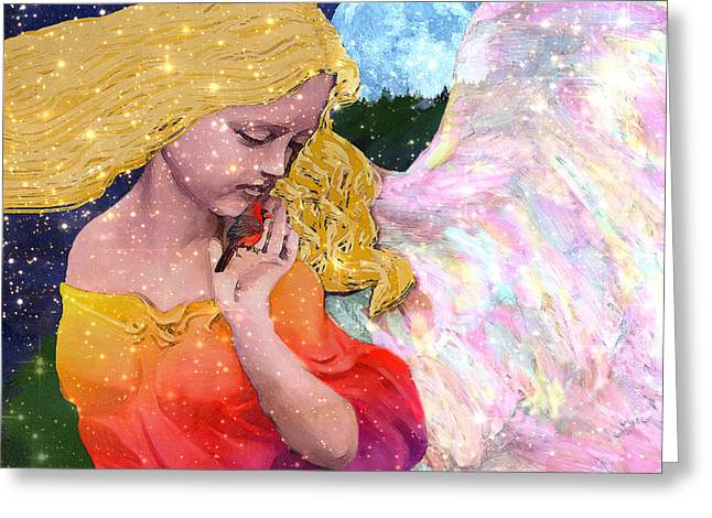 Night Angel Greeting Cards - Angels Protect The Innocents Greeting Card by Michele Avanti