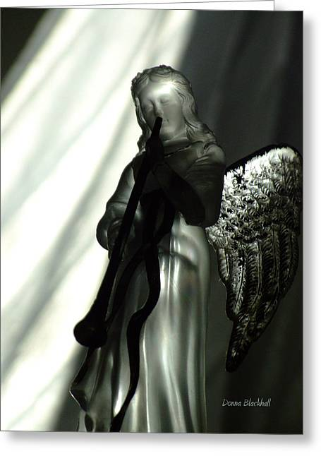 Dark Angels Greeting Cards - Angels We Have Heard Greeting Card by Donna Blackhall