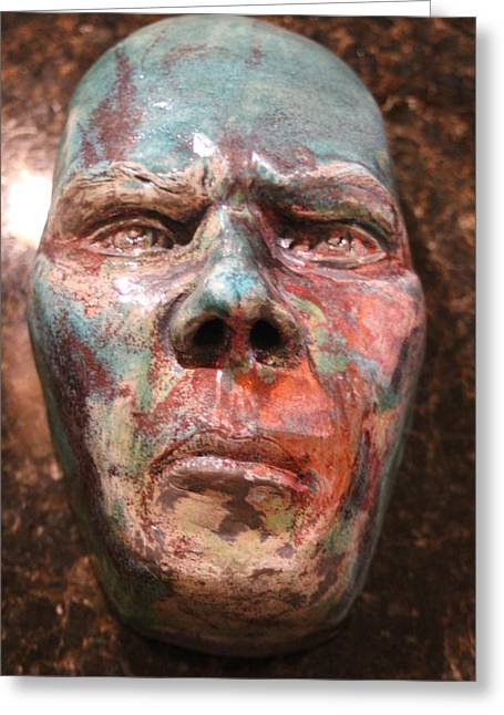 Portraits Ceramics Greeting Cards - Anger Greeting Card by Donovan  Hettich