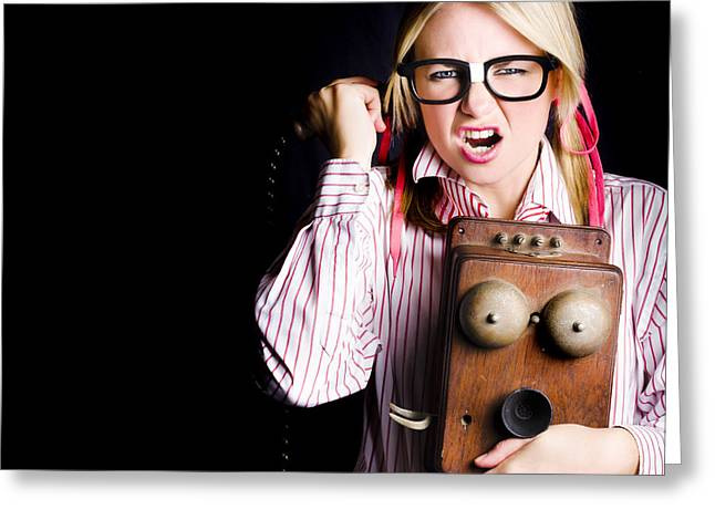 Anger Member Of Staff In Conversation Of Rage Greeting Card by Jorgo Photography - Wall Art Gallery