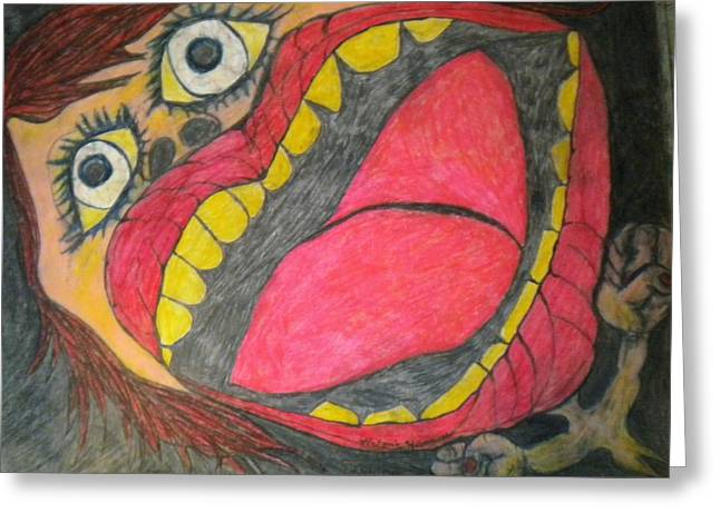 Anger Drawings Greeting Cards - Anger Greeting Card by Victoria Hasenauer