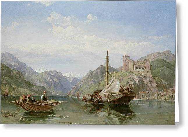 Swiss Paintings Greeting Cards - Angera on Lake Maggiore Greeting Card by George Clarkson Stanfield