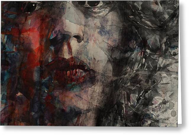 Musicians Paintings Greeting Cards - Angie I Still Love You Baby  Every Where I Look I See Your Eyes Greeting Card by Paul Lovering