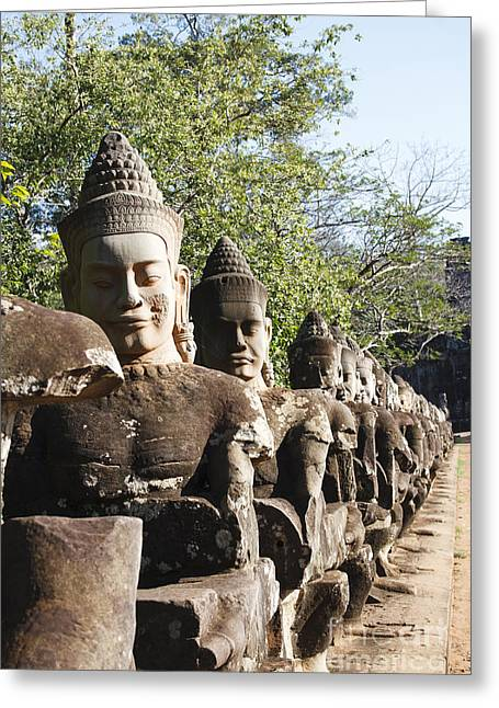Historic Site Greeting Cards - Angkor Tom entrance Greeting Card by Maurizio Biso