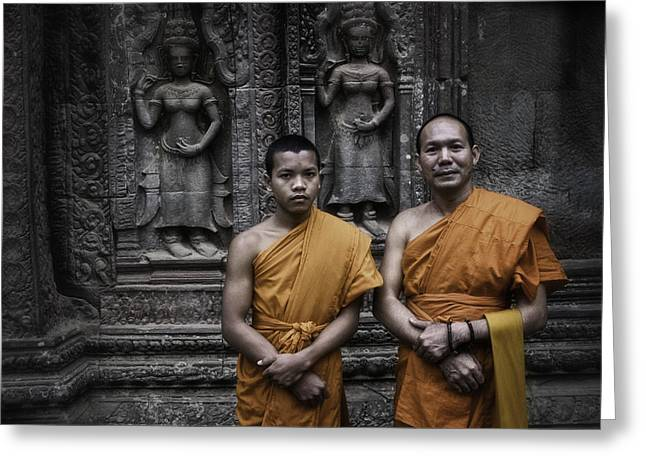 Monk-religious Occupation Greeting Cards - Angkor Wat Monks 1 Greeting Card by David Longstreath